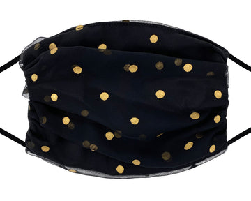 Fashion Mask - Chiffon - Gold Polka Dot on Black