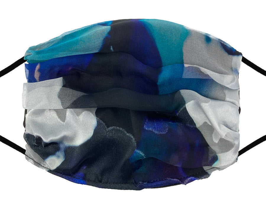 Fashion Mask - Silk -  Blue and Black Burnout