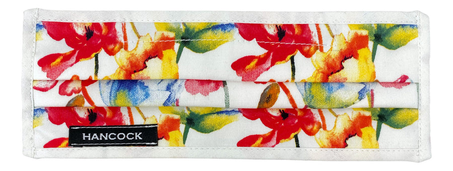 Face Mask - White, Red, Yellow Floral
