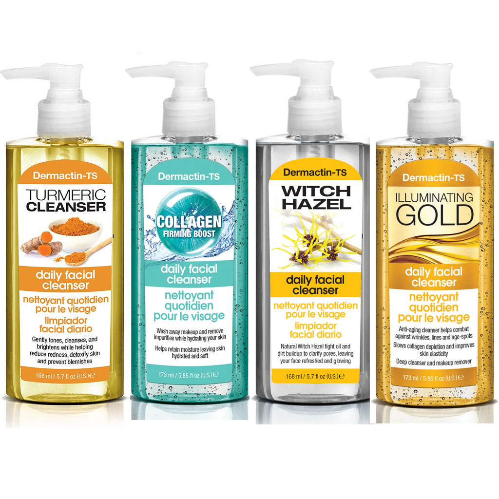 Dermactin-TS Daily Facial Cleanser 4-PC Set - Includes Turmeric, Witch Hazel, Collagen & Illuminating Gold 5.7 oz.