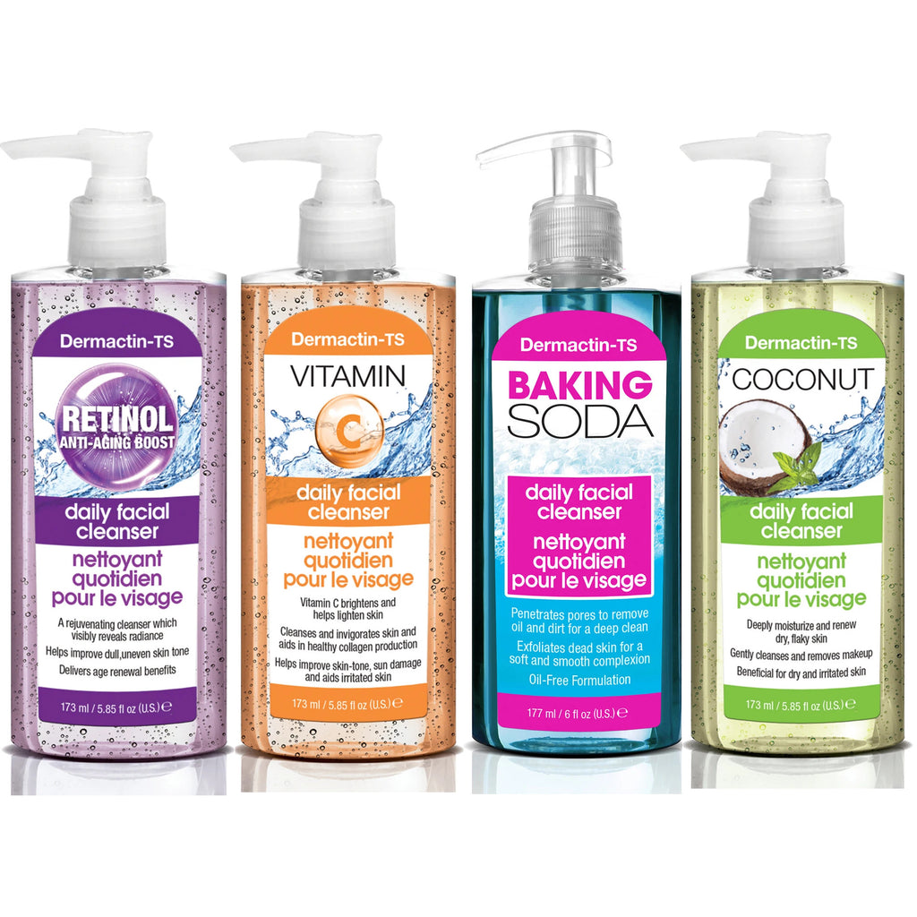 Dermactin-TS Daily Facial Cleanser 4-PC Set - Includes Retinol, Vitamin C, Baking Soda & Coconut Cleansers 5.7 oz.