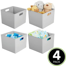 Load image into Gallery viewer, Best seller  mdesign plastic home storage organizer bin for cube furniture shelving in office entryway closet cabinet bedroom laundry room nursery kids toy room 10 x 10 x 8 4 pack gray