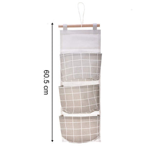 Discover gaiatop hanging storage 2 packs linen cotton fabric wall door closet hanging organizer bags with 3 pockets for living room bedroom bathroom white grey