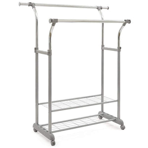 Selection ezoware heavy duty clothes rack dual bar commercial grade garment coat clothes closet organizer hanging rack with 2 tier bottom shelves for balcony boutiques bedroom chrome finish