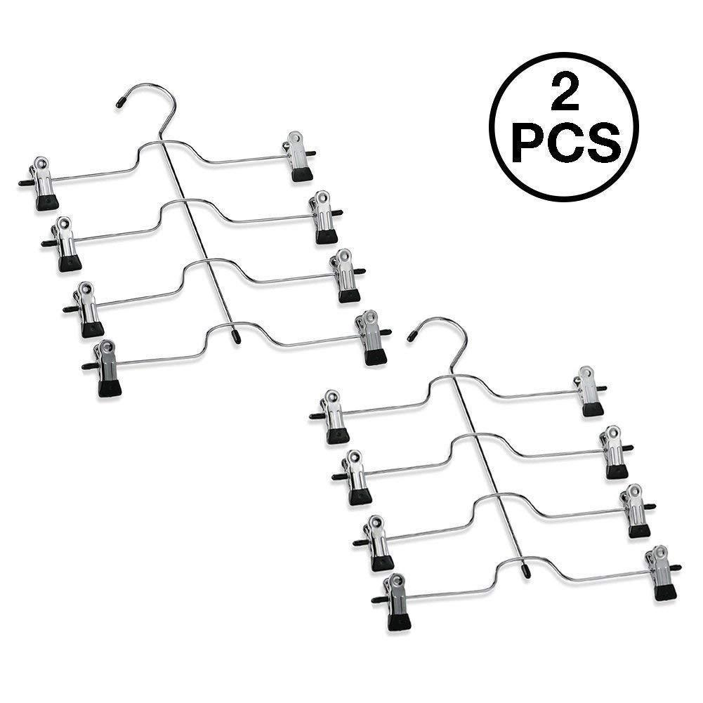 Explore 4 tier pants hanger 2 pack trouser hanger skirt hangers with non slip black vinyl clips heavy duty metal hangers ultra thin space saving clothes hangers to organize closet jeans scarf slacks