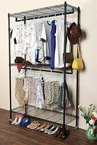 Featured hindom free standing closet garment rack with wheels and side hooks 3 tiers large size heavy duty rolling clothes rack closet storage organizer us stock
