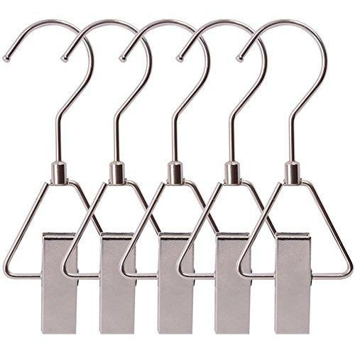 Storage organizer aligle energy chrome steel heavy duty hanger clips hooks portable laundry hook 360 swivel joint triangle hooks metal clip for laundry drying hanging organizer of boots shoes closet 5 pcs