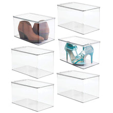 Load image into Gallery viewer, Shop for mdesign stackable closet plastic storage bin box with lid container for organizing mens and womens shoes booties pumps sandals wedges flats heels and accessories 7 high 6 pack clear