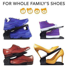 Load image into Gallery viewer, Organize with new upgraded adjustable shoes organizer best quality shoe slots closet storage space saver durable holds high heels to sneakers for men women and kid shoes 8 pack in black