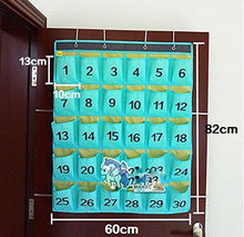 Load image into Gallery viewer, Select nice lecent numberes classroom pocket chart for cell phones business cards 30 pockets wall door closet mobile hanging storage bag organizer with hooks