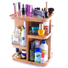 Load image into Gallery viewer, Heavy duty refine 360 bamboo cosmetic organizer multi function storage carousel for your vanity bathroom closet kitchen tabletop countertop and desk