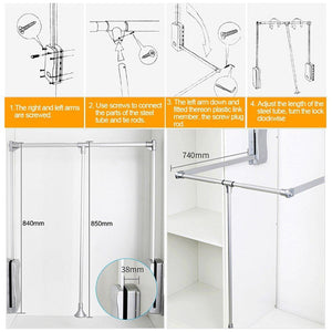 Best gimify pull down closet rod wardrobe lift organizer storage systerm hanger rod for hanging clothes space saving aluminum adjustable 32 68 42 28inch