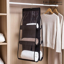 Load image into Gallery viewer, Budget friendly love in the house hanging handbag purse organizer household wardrobe closet organizer hanging storage bag 6 large storage pockets grey 36x14x14
