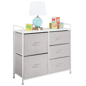 The best mdesign wide dresser storage tower sturdy steel frame wood top easy pull fabric bins organizer unit for bedroom hallway entryway closets chevron print 5 drawers taupe white