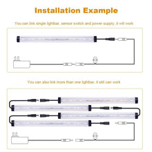 Load image into Gallery viewer, Buy now sunwow motion sensor led under cabinet lighting kit 4pcs extendable under counter led light bar for gun box locker closet shelf reception desk kitchen show case lighting white