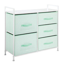 Load image into Gallery viewer, Products mdesign wide dresser storage tower furniture metal frame wood top easy pull fabric bins organizer for kids bedroom hallway entryway closet dorm chevron print 5 drawers mint green white