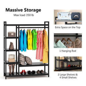 The best little tree free standing closet organizer heavy duty closet storage with 6 shelves and handing bar large clothes storage standing garmen rack black