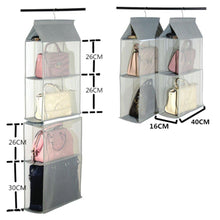 Load image into Gallery viewer, Discover detachable 4 big compartment pouch hanging handbag organizer clear purse bag storage holder wardrobe closet space saving organizers system for living room bedroom usepack of 2 grey