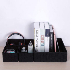 Discover kedsum woven storage box cube basket bin container tote cube organizer divider for drawer closet shelf dresser set of 4 black