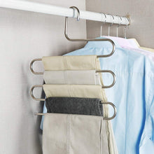 Load image into Gallery viewer, Kitchen syidinzn pants hangers rack holder stand shelf organizer stainless steel s shape multi purpose hangers storage rack for clothes pants jeans trousers scarfs ties towels closet