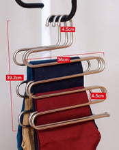 Load image into Gallery viewer, Kitchen eco life sturdy s type multi purpose stainless steel magic pants hangers closet hangers space saver storage rack for hanging jeans scarf tie family economical storage 1 pce 1