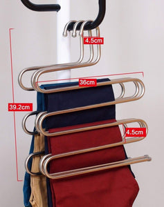 Kitchen eco life sturdy s type multi purpose stainless steel magic pants hangers closet hangers space saver storage rack for hanging jeans scarf tie family economical storage 1 pce 1