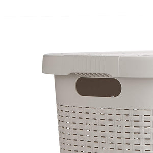 Kitchen mind reader 50hamp ivo 50 liter hamper laundry basket with cutout handles washing bin dirty clothes storage bathroom bedroom closet ivory