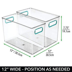 Purchase mdesign plastic home storage organizer bin for cube furniture shelving in office entryway closet cabinet bedroom laundry room nursery kids toy room 12 x 6 x 7 75 4 pack clear blue
