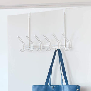 Shop interdesign classico metal over the door organizer 6 hook rack for coats hats robes towels jackets purses bedroom closet and bathroom 18 25 x 5 x 10 75 pearl white