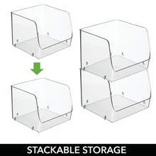 Load image into Gallery viewer, On amazon mdesign large stackable plastic bathroom storage organizer bin basket with wide open front for vanity countertops cabinets closets under sinks cube 7 75 wide 4 pack clear