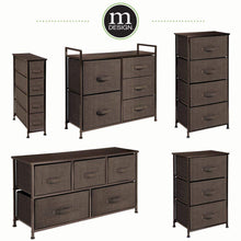 Load image into Gallery viewer, Organize with mdesign wide dresser storage tower sturdy steel frame wood top easy pull fabric bins organizer unit for bedroom hallway entryway closets textured print 5 drawers espresso brown