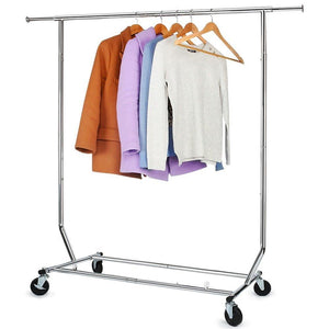 Commercial Grade Clothing Garment Racks Heavy Duty Adjustable Collapsible Rolling Clothes Rack Chrome Finish Single Rail