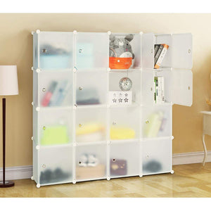 Home honey home modular storage cube closet organizers portable plastic diy wardrobes cabinet shelving with easy closed doors for bedroom office kitchen garage 16 cubes white