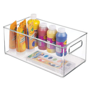 Products mdesign large plastic storage organizer bin holds crafting sewing art supplies for home classroom studio cabinet or closet great for kids craft rooms 14 5 long 8 pack clear
