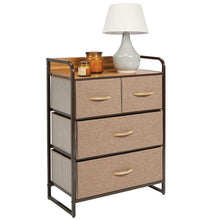Load image into Gallery viewer, Organize with mdesign dresser storage chest sturdy metal frame wood top easy pull fabric bins organizer unit for bedroom hallway entryway closet textured print 4 drawers coffee espresso brown