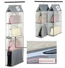 Load image into Gallery viewer, Discover the best detachable 4 big compartment pouch hanging handbag organizer clear purse bag storage holder wardrobe closet space saving organizers system for living room bedroom usepack of 2 grey