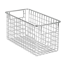 Load image into Gallery viewer, Products mdesign farmhouse decor metal wire food storage organizer bin basket with handles for kitchen cabinets pantry bathroom laundry room closets garage 12 x 6 x 6 8 pack chrome