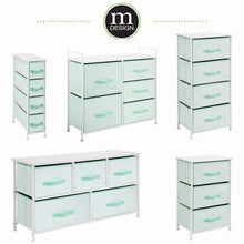 Load image into Gallery viewer, On amazon mdesign wide dresser storage tower furniture metal frame wood top easy pull fabric bins organizer for kids bedroom hallway entryway closet dorm chevron print 5 drawers mint green white