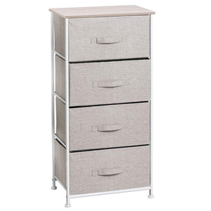 On amazon mdesign vertical furniture storage tower sturdy steel frame wood top easy pull fabric bins organizer unit for bedroom hallway entryway closets textured print 4 drawers linen natural
