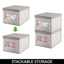 Load image into Gallery viewer, Results mdesign decorative soft stackable fabric closet storage organizer holder box clear window lid for child kids room nursery large collapsible foldable textured print 4 pack linen tan