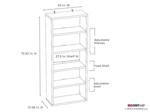 Exclusive closetmaid 13504 decorative 5 shelf unit white