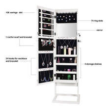 Load image into Gallery viewer, Explore bonnlo cheval jewelry armoire stable square freestanding with 6 leds with 4 adjustable angle tilting lockable heavy duty bedroom makeup mirror cabinet organizer closet xmas new year gift