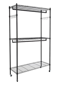 Latest hindom free standing closet garment rack with wheels and side hooks 3 tiers large size heavy duty rolling clothes rack closet storage organizer us stock
