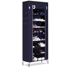 Load image into Gallery viewer, Home bluefringe shoe rack with dustproof cover shoe closet shoe cabinet storage organizer dustproof 27 pairs shoe cabinet multi function shelf organizer navy blue 10 tier
