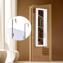 Load image into Gallery viewer, Latest cloud mountain jewelry cabinet 6 leds jewelry armoire lockable wall door mounted jewelry cabinet organizer with mirror 2 drawers bedroom living room cloakroom closet white