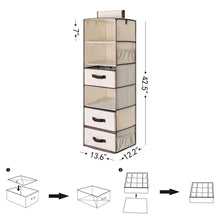 Load image into Gallery viewer, Save on storageworks 6 shelf hanging closet organizer foldable closet hanging shelves with 2 drawers 1 underwear socks drawer 42 5h x 13 6w x 12 2d