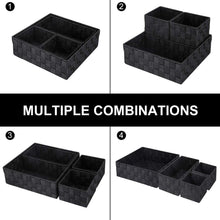 Load image into Gallery viewer, Discover the best kedsum woven storage box cube basket bin container tote cube organizer divider for drawer closet shelf dresser set of 4 black