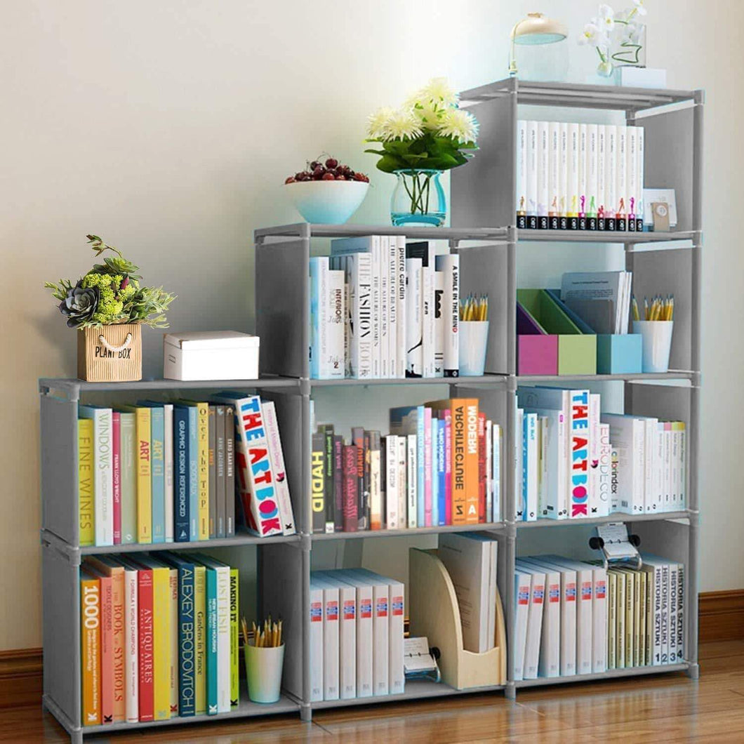 Exclusive clewiltess 9 cube diy storage bookcase bookshelf for kids home furniture storage shelves closet organizer rack cabinet for bedroom living room office grey