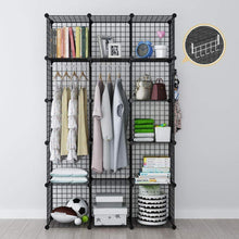 Load image into Gallery viewer, Great george danis wire storage cubes metal shelving unit portable closet wardrobe organizer multi use rack modular cubbies black 14 inches depth 3x5 tiers