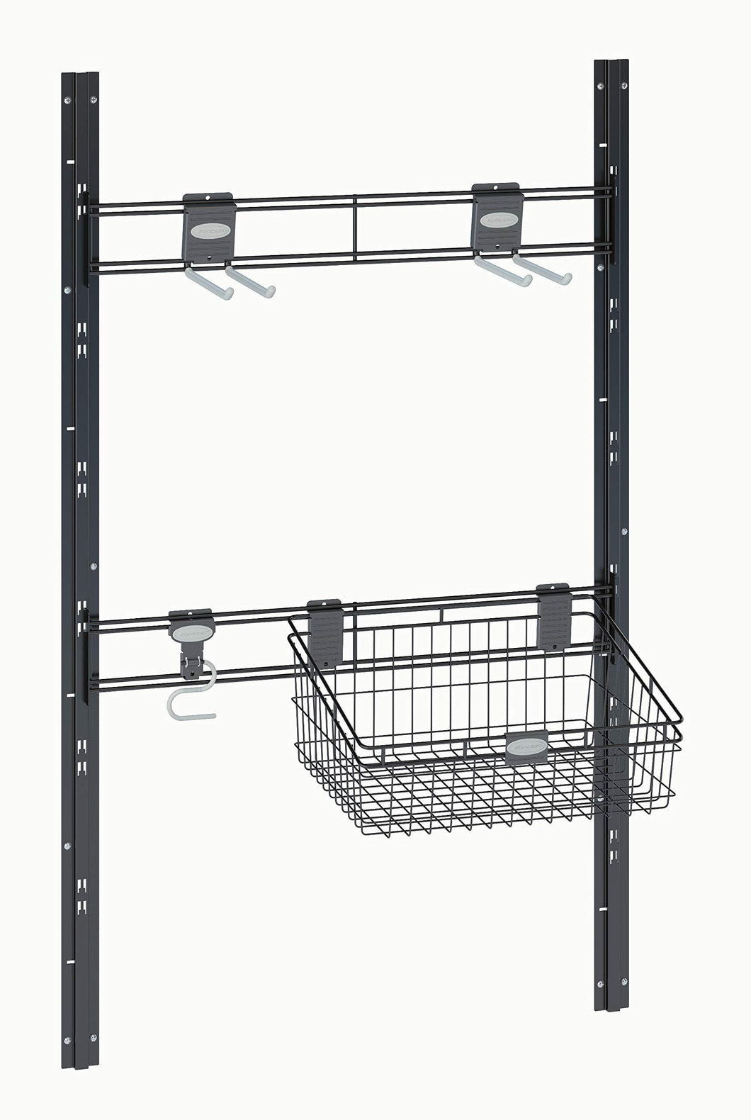 Discover the suncast sierra tool hooks closet system for mounting in sheds includes three hangers and vertical brackets to hold garden supplies tools toys outdoor accessories black